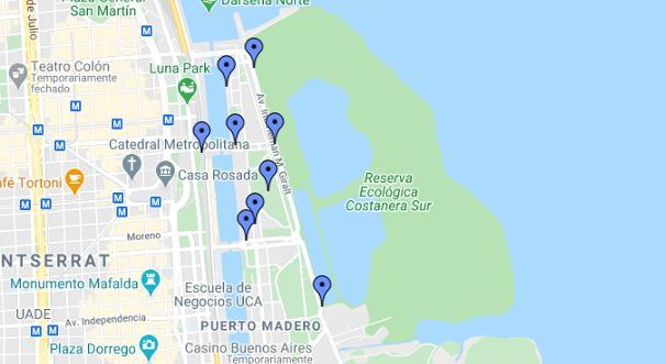 mapa dos programas econômicos em Puerto Madero